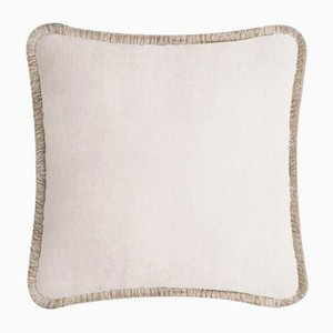 Happy Pillow Soft Velvet Cushion with Fringe Light Beige-Beige by Lorenza Briola