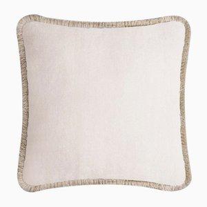 Happy Pillow Soft Velvet Cushion with Fringe Light Beige-Beige by Lorenza Briola