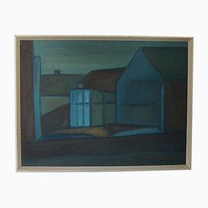 Paul Würtz, Danish Town Aarhus, 1964, Oil on Canvas