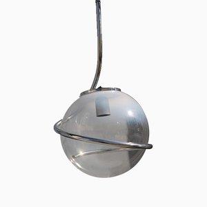 Italian Chromed Metal & Murano Glass Ball Ceiling Lamp by Fabio Lenci, 1970s