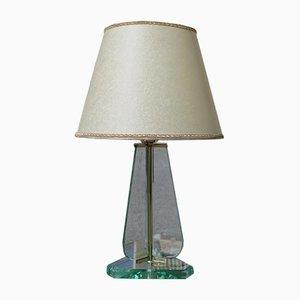 Italienische Messing Tischlampe von Cristal Art, 1950er