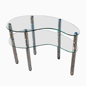 Italian Glass & Chromed Metal Shelf, 1960s
