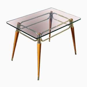 Italian Maple & Brass Coffee Table with Glass Top, 1950s