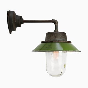 Mid-Century Industrial Green Enamel & Clear Glass Sconce