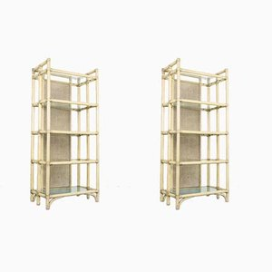 Vintage Bamboo & Glass Shelves, 1980s, Set of 2