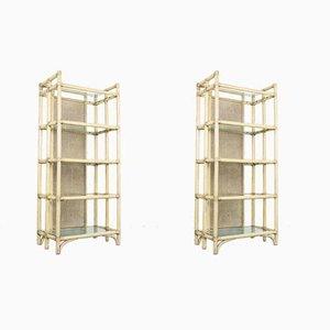 Vintage Regale aus Bambus & Glas, 1980er, 2er Set