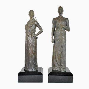 Bronze Sculptures, Maasai Couple, 20th Century, Set of 2