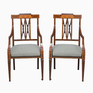 Late Victorian Mahogany Carver Chairs, Set of 2
