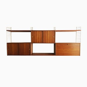 Teak Wall Shelf Unit by Kajsa & Nils Strinning for String, 1950s