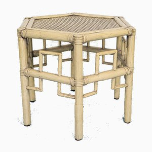 Vintage Austrian Bamboo & Straw Coffee Table, 1980s