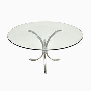 Vintage Chrome & Glass Coffee Table, 1960s