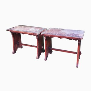 Antique Wooden Benches, Late 1800s, Set of 2