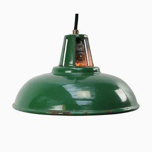 Plafonnier Mid-Century Industriel Vert en Email, Grande-Bretagne