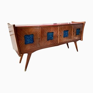 Italian Rosewood & Blue Ceramic Tile Sideboard with Red Lacquered Glass Top, 1950s