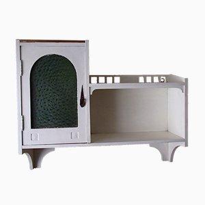 Antique Art Nouveau White & Green Glass Cabinet