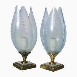 Blaue Tischlampen von Rougier, 1970er, 2er Set