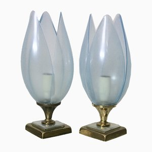 Blue Table Lamps from Rougier, 1970s, Set of 2