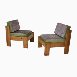 French Velvet Lounge Chairs, 1960s, Set of 2