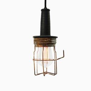 Industrielle Mid-Century Deckenlampe aus Schwarzem Metall