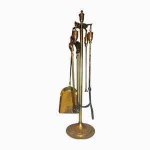 Vintage Art Deco Brass Fireplace Accessory Set