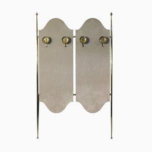 Italian Brass & Velvet Coat Rack, 1950s