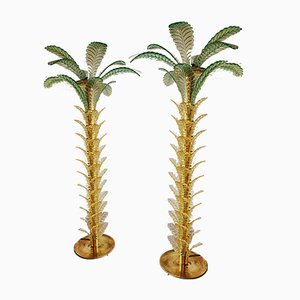 Lampade da terra a forma di palma vintage in vetro di Murano, set di 2