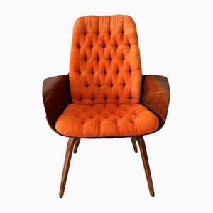 Großer Amerikanischer Sessel aus Schichtholz & Oranger Seide von Plycraft, 1960er
