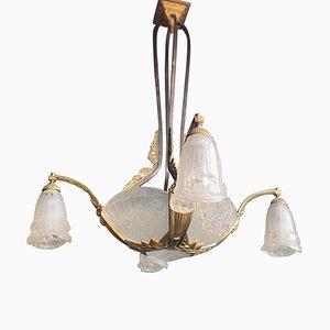 Lámpara de araña francesa Art Déco de Pierre Gilles, años 20