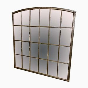 Large Industrial Cast Iron Window Mirror, 1930s