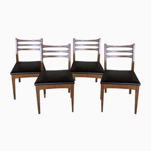 Mid-Century Teak & Black Vinyl Dining Chairs for Meredew, Set of 4