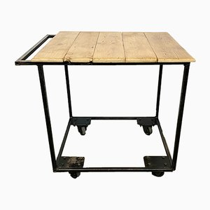 Vintage Industrial Worktable on Wheels, 1960s
