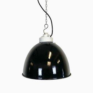 Industrielle Deckenlampe aus schwarzer Emaille & Porzellan, 1950er
