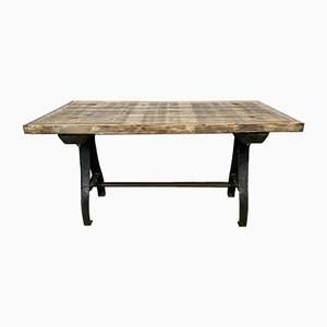 Industrial Dining Table with Cast Iron Legs, 1950s