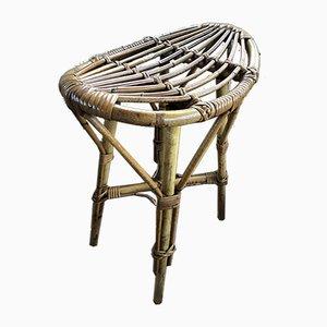 Sgabello Mid-Century in vimini e bambù, anni '60