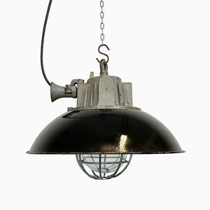 Industrial Black Enamel & Cast Iron Cage Ceiling Lamp, 1950s
