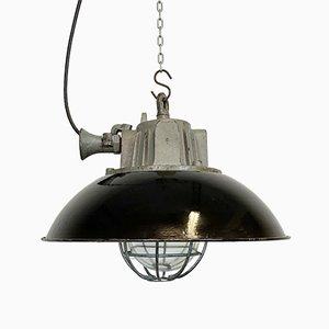 Industrielle Deckenlampe aus schwarzer Emaille & Gusseisen, 1950er