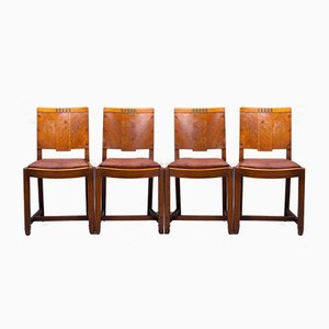 Art Deco English Oak & Leather Dining Chairs, 1930s, Set of 4