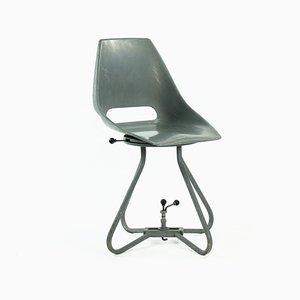 Gray Fiberglass & Metal Dining Chair by Miroslav Navratil for Vertex, 1960s
