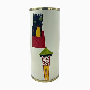 White Enamel Umbrella Stand with Castels by Siva Poggibonsi, Italy, 1950s
