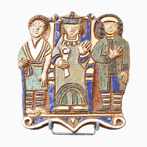 French Ceramic Wall Plaque with Three Figures by Les Argonautes, 1960s