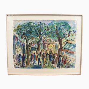 Roland DuBuc, Parisian Funfair, 1970s, Watercolor