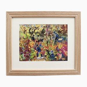 Pierre Gaillardot, The Grape Harvest, 1970s, Watercolor