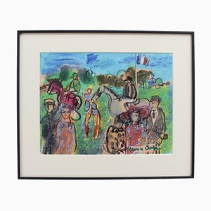 Maurice Empi, The Parade Ring At the Races, 1970s, Gouache and Pastel