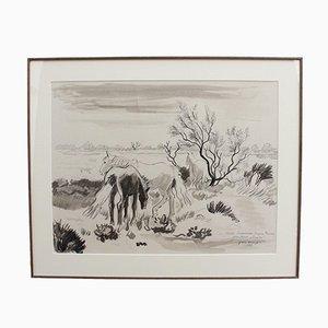 Yves Brayer, Cavalli sullo sfondo dello stagno, 1980, matita, inchiostro e acquerello