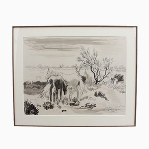 Yves Brayer, Horses at the Edge of the Pond, 1980, Pencil, Ink and Watercolor