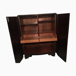 Antique Dark Cabinet with Drawers and Shelves