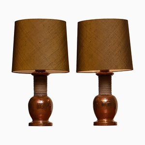 Lámparas de mesa Bitossi italianas de cerámica y cobre para Bergboms, Sweden, años 60. Juego de 2