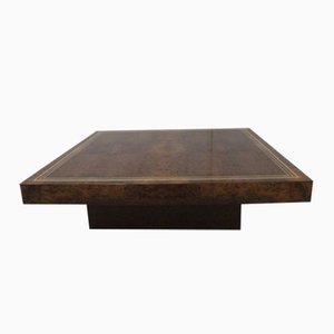 Low Coffee Table in Burl Wood, 1970s
