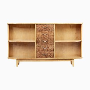 Mid 20th Century Elm and Burr Low Open Bookcase