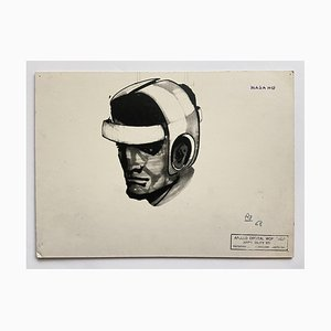 Raymond Loewy and William Snaith, Helmeted Man 1 Drawing for Nasa, 1968, India Ink on Cardboard